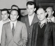 The Gallo Brothers: Joey (right) and Larry (left of the unidentified man) Been in their clubhouse in Bklyn.-don't ask/lu Real Gangster, Mafia Gangster, Joe Gallo, Good Music, My Music, Colombo Crime Family, Fabulous Four, Life Of Crime, The Way I Feel