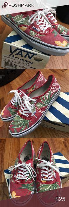 VANS‼️ VAN DOREN RED/HAWAIIAN SHOES WOMENS 7.0 VANS RED/HAWAIIAN SHOES WOMENS 7.0/ MENS 5.5... Perfect pair of shoes for summer  Vans Shoes Sneakers