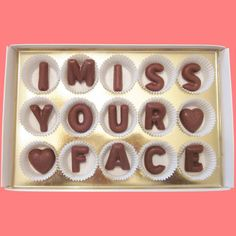 I Miss Your Face Large Milk Chocolate Letters-Long Distance Gift for Men Women Her Him-Made to Order. $24.99, via Etsy.