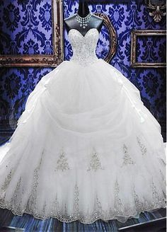Elegant Organza Sweetheart Neckline Basque Waistline Ball Gown Wedding Dress With Embroidery & Rhinestones