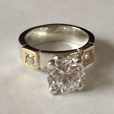 Sterling silver and gold plated Round CZ ring, size 6 1/2 Lot 378