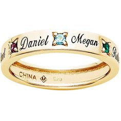 Personalized Gold Over Sterling Silver Family Birthstone Band