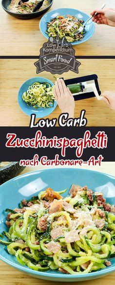 """(Low Carb Kompendium) - Spaghetti Carbonara ist ein klassisches Gericht, das viele Menschen lieben. Das Tolle an Spaghetti Carbonara ist auch, dass sie so blitzschnell gezaubert sind & die Zutaten nicht viel kosten. Während die klassische Carbonara jedoch ohne Sahne gemacht wird, gibt es sehr viele Menschen, die sie gerne mit Sahne essen. Heute haben wir die klassische Carbonara auch mit Sahne gemacht. Damit ist es also """"nur"""" eine Carbonara-Art. Trotzdem ist sie dadurch nicht weniger lecker"""