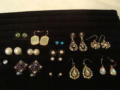 Lot of 13 Pairs Pierced Earrings Modern & Vintage-Aurora Rhinestones, Pearl.... #StudDropDangle