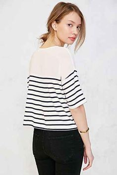 BDG Sheer Striped Cropped Top - Urban Outfitters