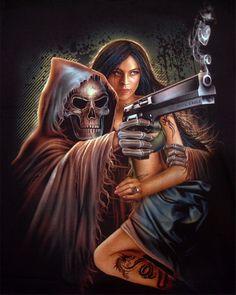 Tattoo Biker Rock Mens T-shirts, Gothic Grim Reaper Desert Eagle Magnum Gun Sexy Tattoo Girl T-shirt Grim Reaper Art, Don't Fear The Reaper, Dark Fantasy Art, Dark Art, Imagenes Pink Floyd, Arley Queen, Totenkopf Tattoos, Reaper Tattoo, Sugar Skull Tattoos