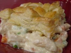 This recipe originated with Paula Deen of Food Network fame.      You could easily add more chicken and vegetables and serve 6 with the same amount of sauce and pastry as well as substitute a lower-calorie milk for all of the cream.  Enjoy those calories, we did!  Im going for a long walk now!