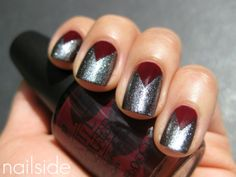 maroon and silver nails