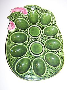 Vintage Pottery Chicken Deviled Egg Holder/Dish (Kitchen ...