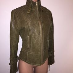 WEEKEND SALE ONLY Andrew Marc leather jacket $100 OFF this weekend ONLY!! ANDREW MARC• size large• color: a deep green/army green, exactly the green that is so hot and on trend this season!• beautifully fitted leather jacket, with extreme detail, from the neck, the arms of the jacket, the front pockets.. Such a beautiful piece! I also have this jacket in black..I just haven't had much use for it! Still in perfect/excellent condition! Looks/smells and feels BRAND NEW. I would list it as new…