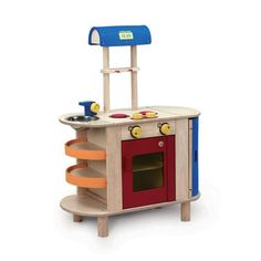 Toy Cooking Center by Wonderworld: Am I  the only one who thinks this looks like a cute monster with yellow googly eyes and a wide open red mouth?...maybe be too much Pinning : ) Made of rubber wood and non toxic paints. On sale, $108 #Toy_Kitchen #Wonderworld #fab
