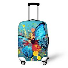 Cute 3D Blue Damask Flower Pattern Luggage Protector Travel Luggage Cover Trolley Case Protective Cover Fits 18-32 Inch