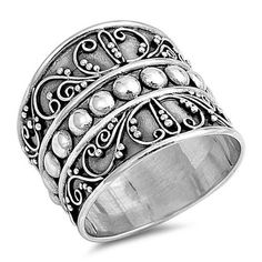Decorative WIDE Bali Style Band All Genuine Sterling Silver .925 Stamped Size 6