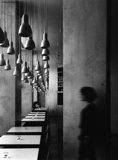 Hanging lights and tables in restaurant - photo by Murray Mirchell Hanging Lights, Wall Lights, Ceiling Lights, Gray Interior, Interior Design, Dramatic Lighting, Foto Art, We Are The World, Catania