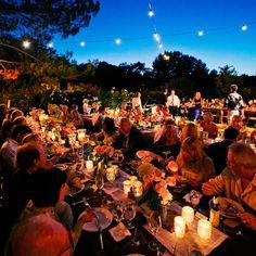 Outdoor Reception in the Twilight // Susan Bordelon Photography // Susan Bordelon Photography // http://www.theknot.com/weddings/album/a-vintage-outdoor-wedding-in-agoura-hills-ca-140219