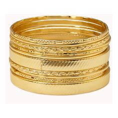 FOREVER 21 Golden Goddess Bangle Set ($5.80) ❤ liked on Polyvore featuring jewelry, bracelets, accessories, forever 21, pulseiras, gold, golden bangles, gold bracelets bangles, gold jewellery and gold hinged bangle
