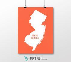 New Jersey print - New Jersey art - New Jersey poster - New Jersey wall art - New Jersey printable poster - New Jersey map - New Jersey by Exit8Creatives on Etsy