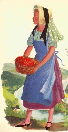 Costume d'une femme ardennaise Belge.