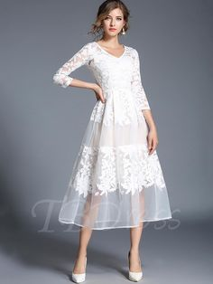 88e2aced3e7  TbDress -  TBDress 3 4 Sleeve White Patchwork Womens Lace Dress - AdoreWe