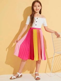Style: CasualColor: MulticolorLength: Long/Full LengthType: PleatedDetails: Pleated, ColorblockSeason: Spring/SummerComposition: PolyesterMaterial: PolyesterFabric: Fabric has no stretchSilhouette: ShiftWaist Type: Mid Waist Girly Outfits, Cute Casual Outfits, Pretty Outfits, Stylish Outfits, Preteen Girls Fashion, Girls Fashion Clothes, Girl Fashion, Fashion Outfits, Dresses Kids Girl