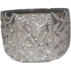 Sterling Silver & Cubic Zirconia Men's Eagle Ring