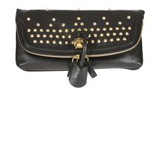 Alexander McQueen black leather studded fold clutch (635 AUD) ❤ liked on Polyvore