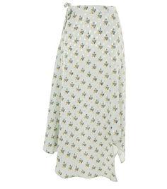 Topshop Spot Floral Hanky Hem Skirt