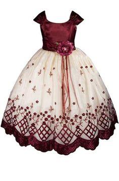 ed83a5ea324 AMJ Dresses Inc Girls Burgundy Flower Girl Holiday Dress Size 2 AMJ Dresses  Inc