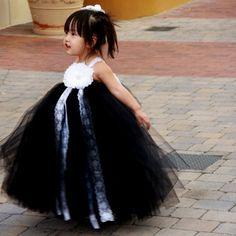 Black and White Lace Flower Girls Tutu Dress
