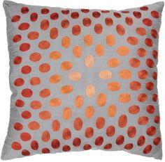 "Rizzy Home 18"" x 18"" Thumbprint Pillow - Gray/Orange"