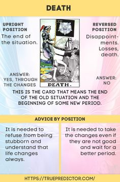 The Death - tarot card meaning True prediction Tarot Death, Tarot Interpretation, Chakra Raiz, Tarot Cards For Beginners, Tarot Card Meanings, Meaning Of Tarot Cards, Tarot Card Spreads, Tarot Astrology, Tarot Major Arcana