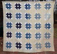 antique Civil War Era patchwork quilt blue white quilted | eBay