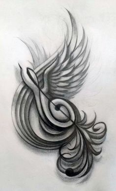 Treble Clef Swallow Design by: Shea Rutherford #tattoo