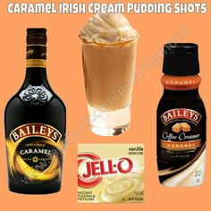 Caramel Irish Cream Pudding Shots.  See full recipe and more on www.facebook.com/puddingshots1