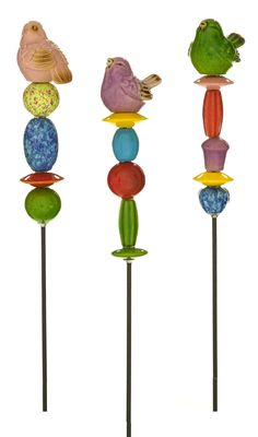 "Features:  -Set includes: 3 garden stakes.  -Theme: Birds and birdhouses.  Product Type: -Decorative Accents.  Number of Items Included: -3. Dimensions:  Overall Height - Top to Bottom: -44"".  Overall"