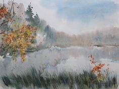 Watercolor painting «The beginnig of Autumn» by Ekaterina Gubina