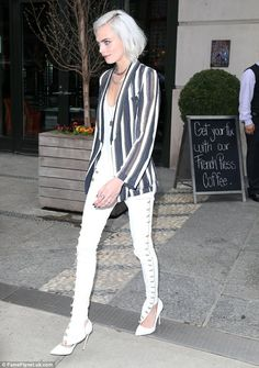 Earning her stripes: The blonde beauty nailed her monochrome look to stunning effect but r...
