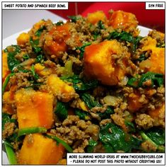 twochubbycubs.com sweet potato and spinach beef bowl - Quorn Mince / TVP / Tofu love it!