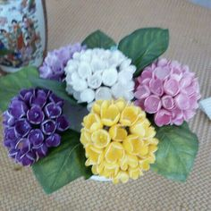 Succulents, Rose, Flowers, Handmade, Crafts, Silk, Brush Strokes, Floral Bouquets, Cold Porcelain