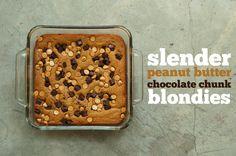 Slender Peanut Butter Chocolate Chunk Blondies | The Slender Student