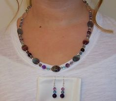 "20"" Fluorite necklace and 1.75"" earring set   Fall Sale 20% off all items and Free shipping in US at:  GemsAndCrystalsEtc.ArtFire.com"