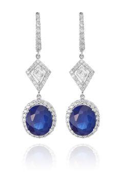 Diamond Jewellery, Diamond Earrings, Fine Bridal Jewelry, Blue Gemstones, Retail Price, Deep Blue, Blue Sapphire, Dangle Earrings, Dangles