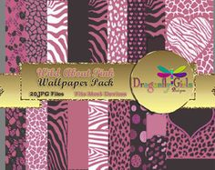 WILD About Pink Digital Wallpapers for Mobile Devices, Instant Download, clipart, vector graphic, Zebra Leopard Animal Print