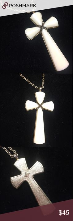 White Stone Cross Vintage White stone cross with long yellow chain. Jewelry Necklaces