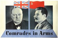 World-War-Two-Churchill-Stalin-Comrades-In-Arms-Poster-A3-A2-Print