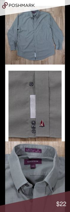 """Nordstrom button down wrinkle care BRAND Nordstrom   STYLE Button Down with collar   SIZE 16-34   COLOR Sage Green   MATERIAL 100% Cotton   APPROX. MEASUREMENTS Pit to Pit and doubled: 51"""" Length (measured at back collar to bottom of garment): 33.5"""" Shoulder to Shoulder: 20.5""""   NOTES Great Used Condition No odor or smells No Rips or Tears  3 spare buttons sewn inside shirt. Nordstrom Shirts Dress Shirts"""