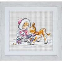 Luca-S Girl with a Calf Counted Cross-Stitch Kit