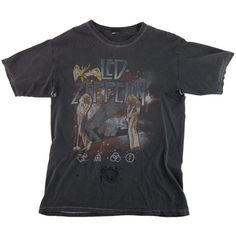 SALE - Vintage Grey LED ZEPPELIN Thrashed Band T Shirt Tee / Large (240 BRL) ❤ liked on Polyvore featuring tops, t-shirts, shirts, tee-shirt, oversized shirt, vintage tees, destroyed t shirt and torn t shirt