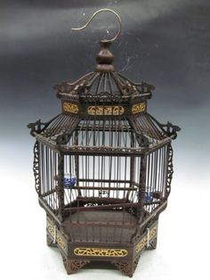 chinese bird cages | Details about Chinese Redwood Engraving Six square Bird Cage