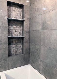 Bathroom Niche, Laundry Room Bathroom, Shower Niche, Bathroom Renos, Bathroom Renovations, Bathroom Showers, Bathroom Ideas, Shower Ideas, Bathroom Hacks